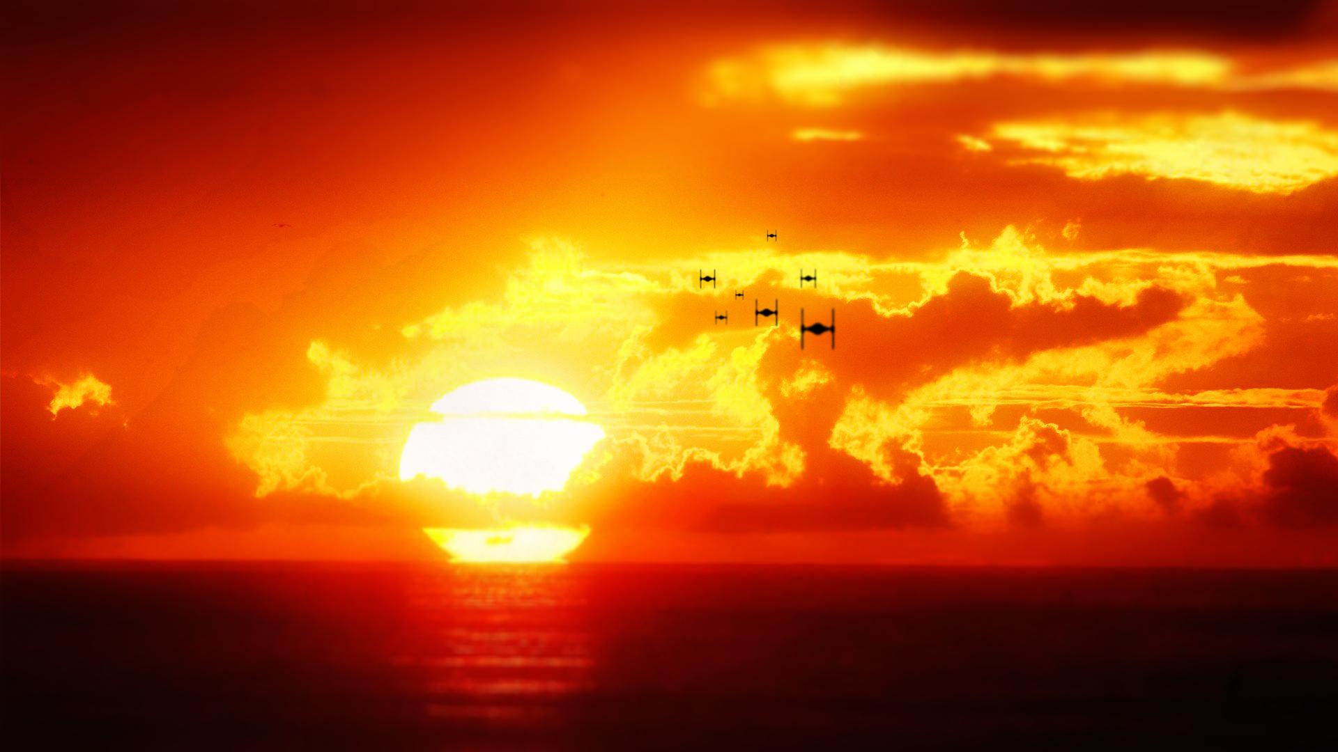 star wars tie fighter sunset wallpapernihilusdesigns on deviantart