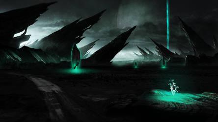 Sci-Fi Landscape Wallpaper by Sorrowda