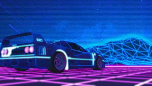 Ferrari F40 80s Synthwave Wallpaper