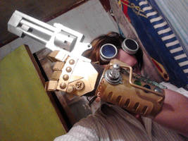 Steampunk Handcuff, gun and Goggles by SteampunkChile