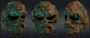 old corroded  bronze mask