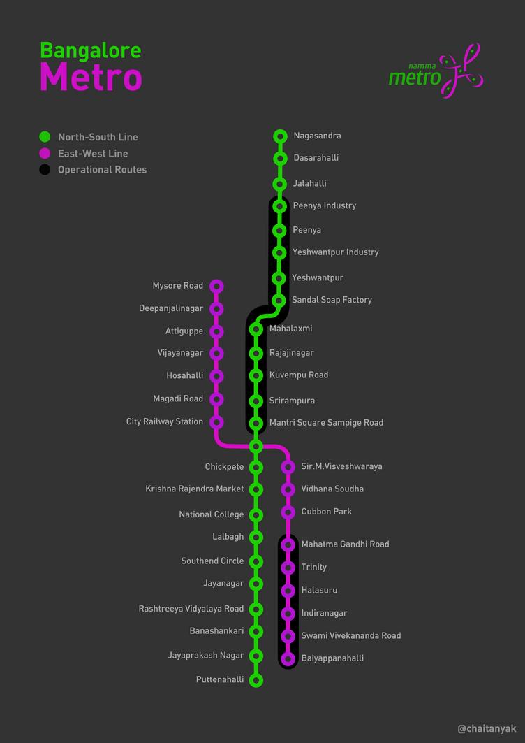 Bangalore Metro Schematic Map ver1.0 by chaitanyak