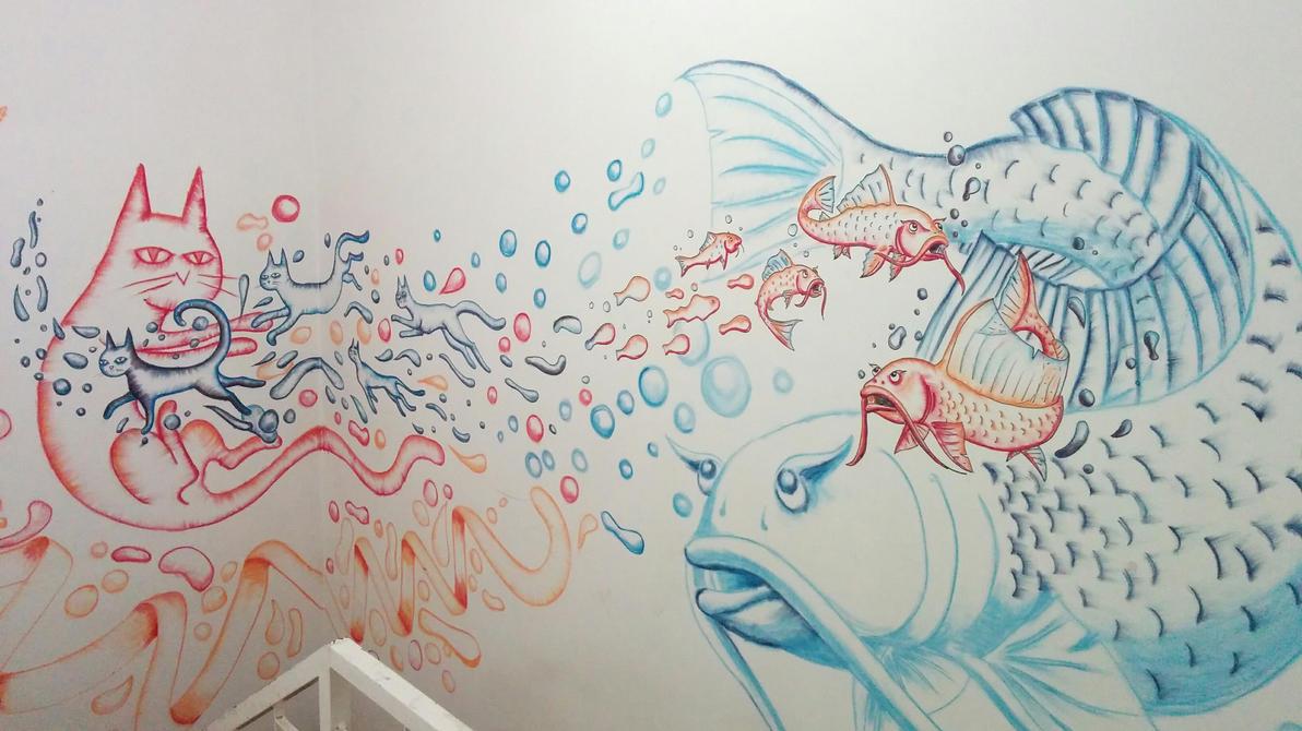 cat-fish themed mural by chaitanyak