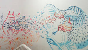 cat-fish themed mural by chaitanyak