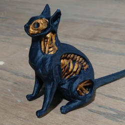 Undead Cat 3d Print Painted Black