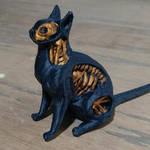 Undead Cat 3d Print Painted Black