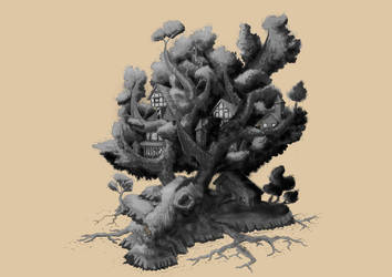Antler Tree Colony greyscale