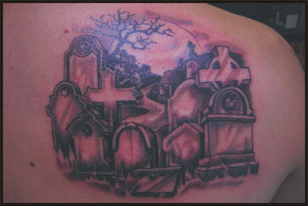 graveyard tattoo by zombiebe10u on deviantart. Black Bedroom Furniture Sets. Home Design Ideas