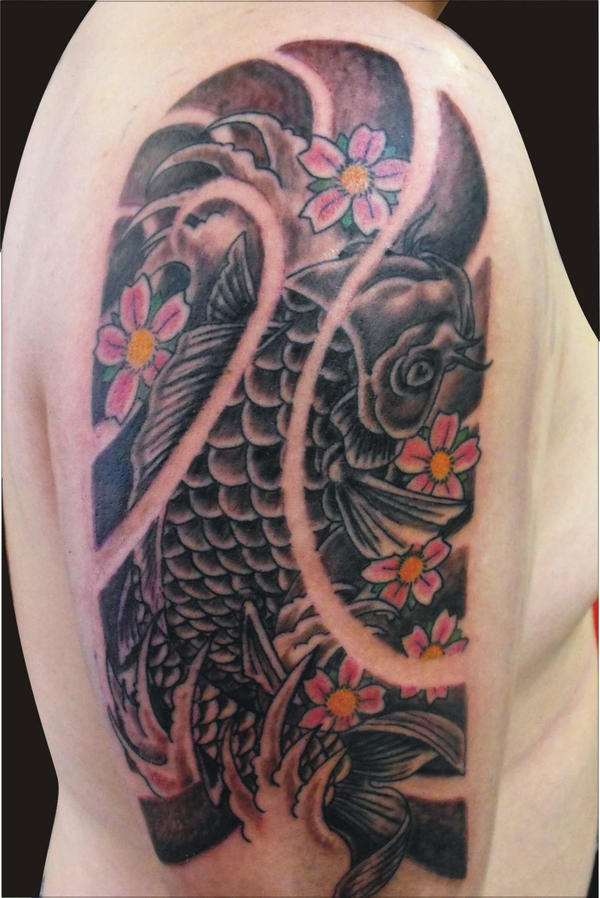 The gallery for koi tattoo black and grey for Grey koi fish