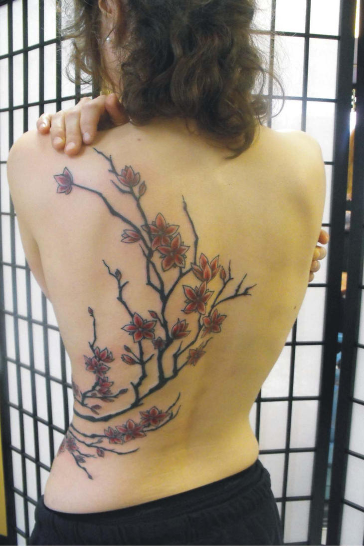 Women Back Piece Japanese Cherry Blossom Tattoo Picture 4