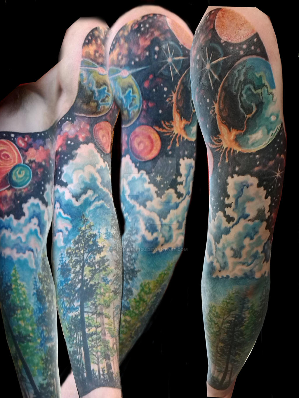 Woods galaxy sleeve by zombiebe10u on deviantart for Galaxy tattoo sleeve