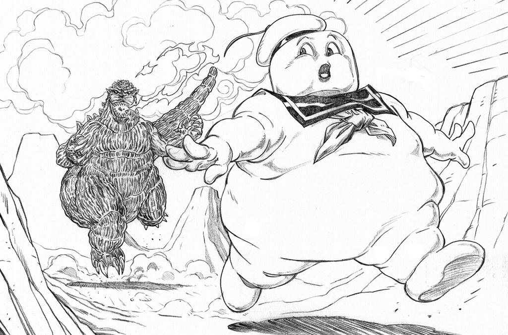 Burning godzilla coloring pages coloring pages for Stay puft coloring page