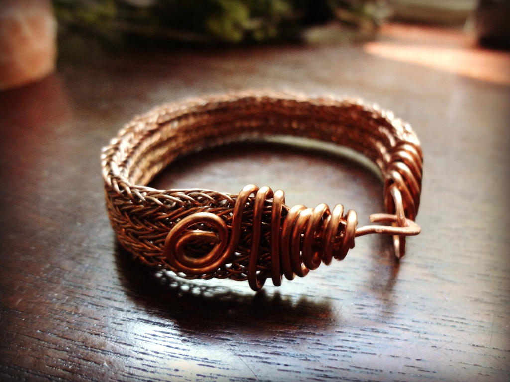 VIKING KNIT Flat Copper Bracelet with Spirals 2 by thewellandspindle ...