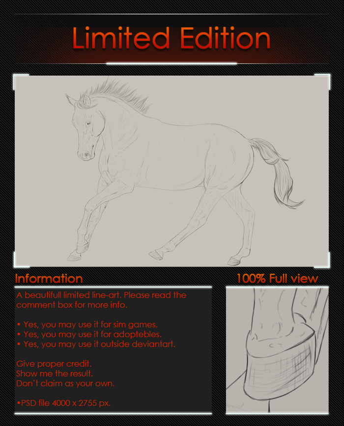 Line Art Limited : Limited line art warmblood by valanee on deviantart