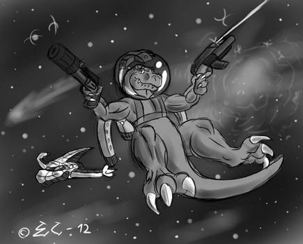 Action T-Rex in Space