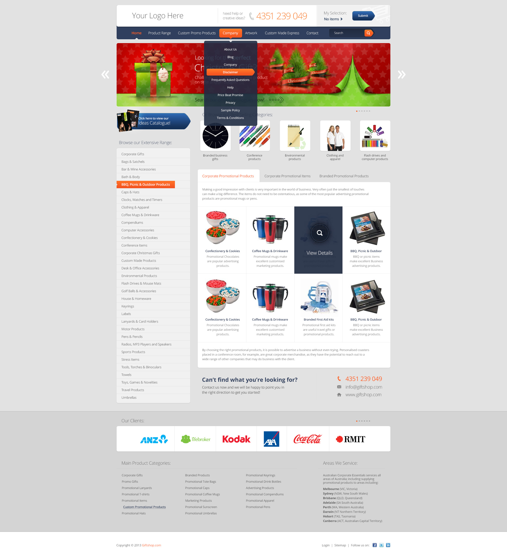Web Giftshop PSD Free Template by tempeescom