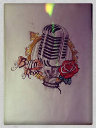 Old microphone- tattoo drawing