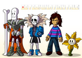 DeterminationTale - Papyrus,Sans,Frisk and Flowey by LonicHedgehog
