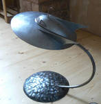 Steel flying saucer with stand