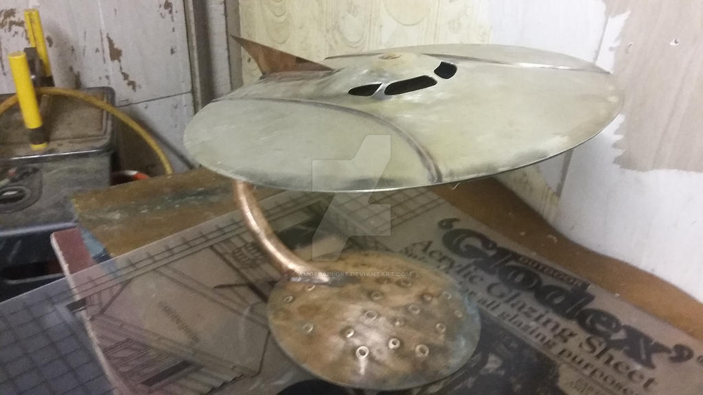 brass and copper flying saucer work in progress by amoebabloke