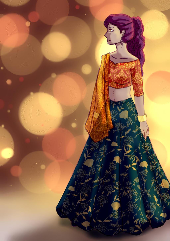Hindi Dress Nisha By Lizzart Drawing On Deviantart