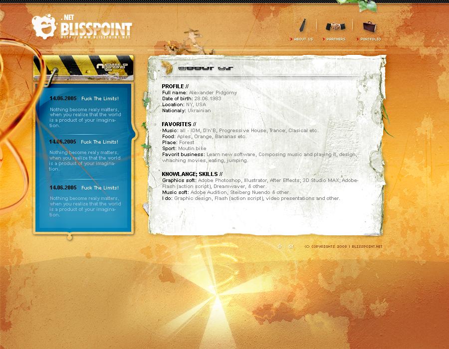BlissPoint personal portfolio by sashander