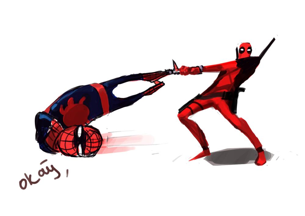Deadpool Vs Spiderman By Ganimishi