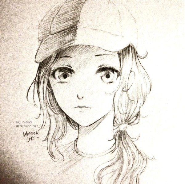 Anime girl sketch by ryuhimei