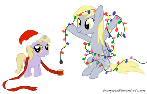 Derpy and Dinky's Christmas Lights by velocimaidfoxicorn