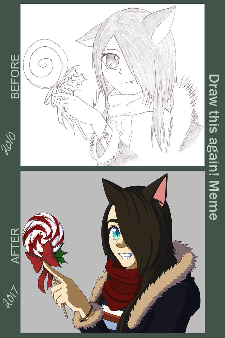 Draw It Again! Winter Neko with Lollipop by SeikoloveyCakes