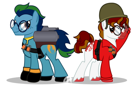 TF2 Blue Pyro Saphrius and Red Soldier Damien