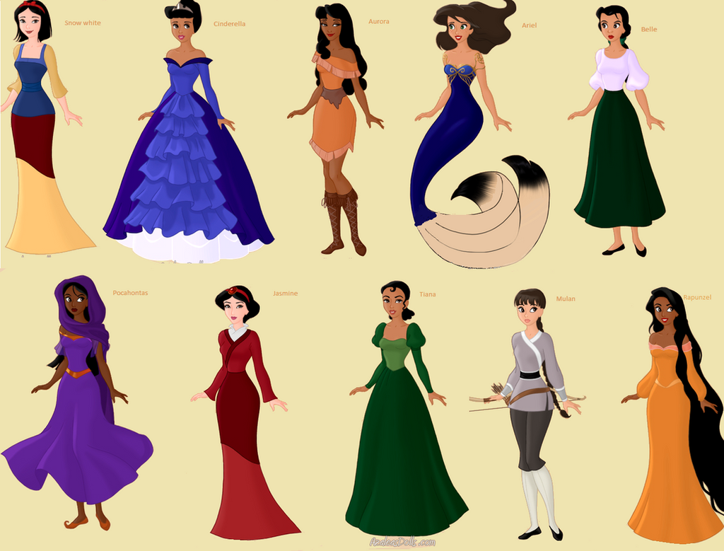 My Version Of The Disney Princesses By Amanmangor On