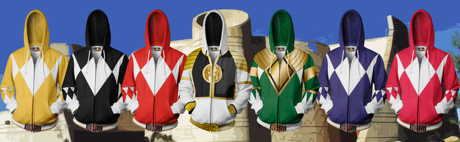 Mighty Morphin' Power Ranger Hoodies by lumpyhippo