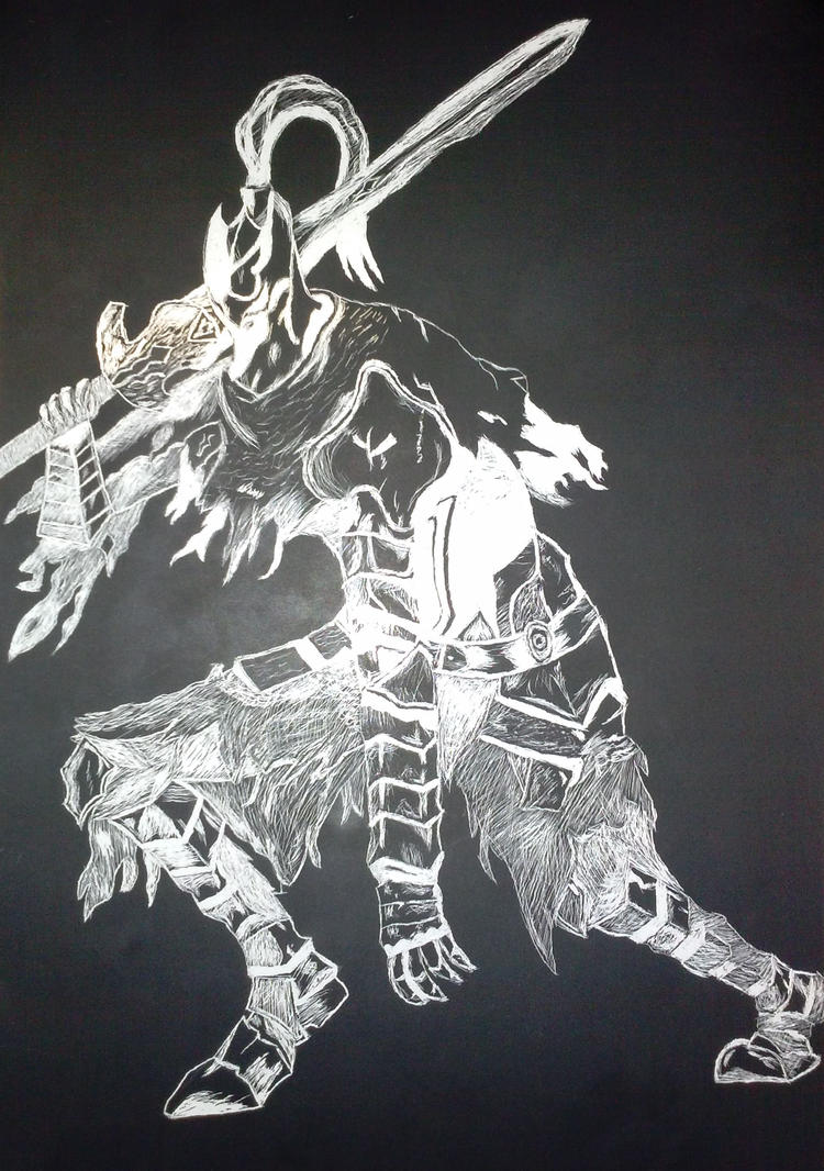 Abyss Walker Scratchboard by JJBanton