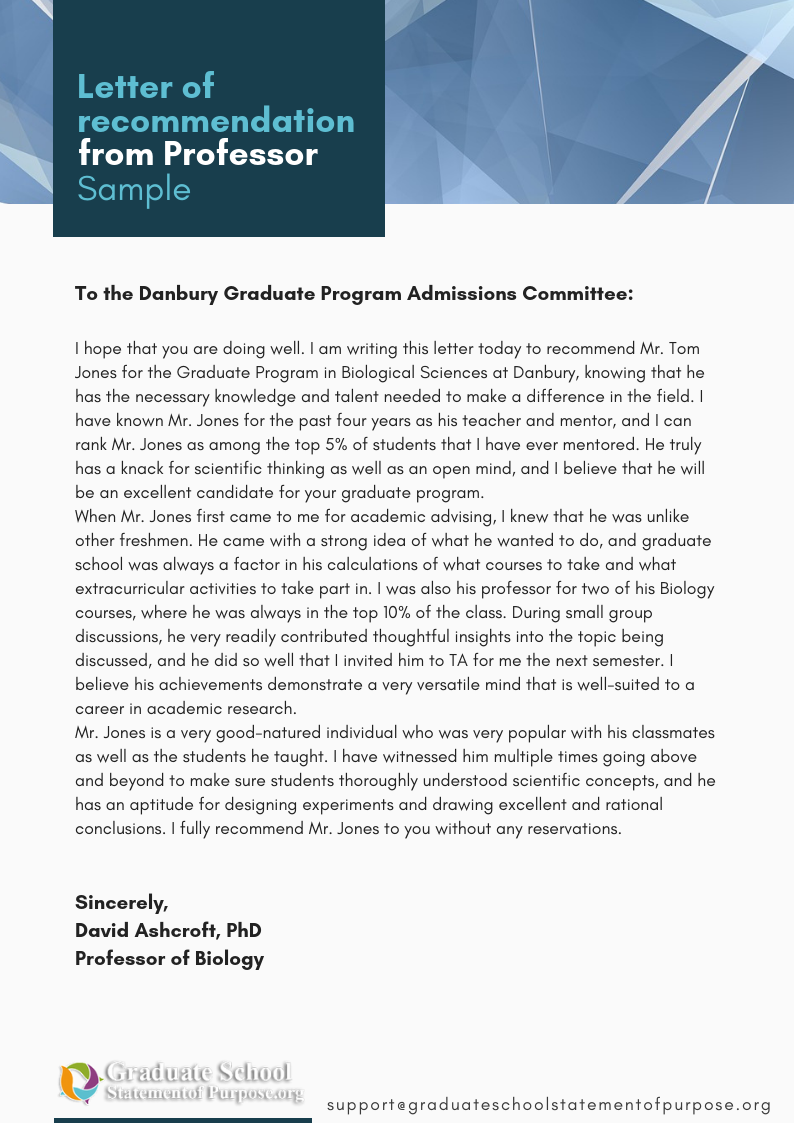 sample letter of recommendation for graduate by