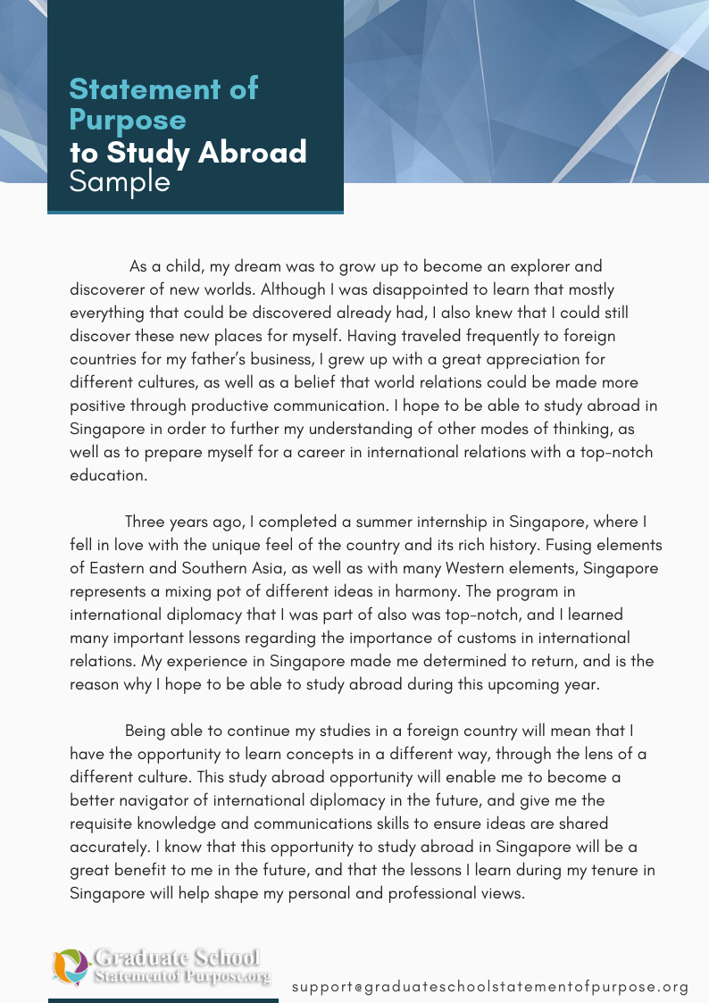 Example of Statement of Purpose for Study Abroad by ...