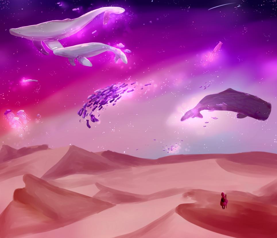 swimming through the stars by Reinneko