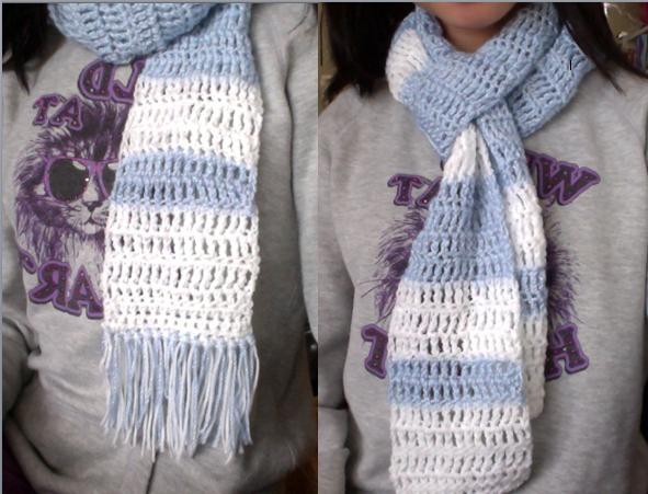Blue And White Treble Crochet Scarf By Mandrienav On Deviantart