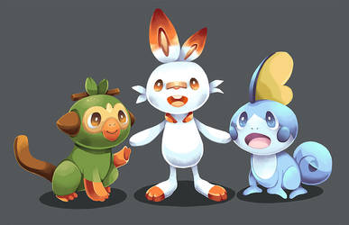 Pokemon - Grookey, Scorbunny, Sobble