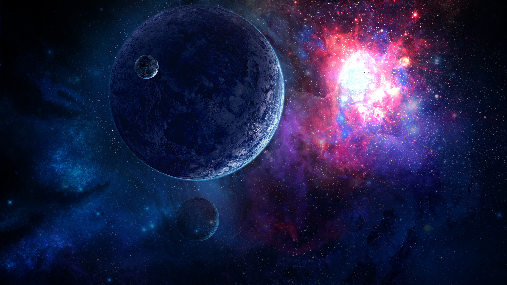 Space wallpaper 1920x1080 without lower planet by danielbemelen on ... Blue Space Wallpaper 1920x1080
