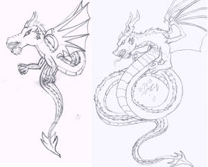 Old Dragon Drawing Comparison