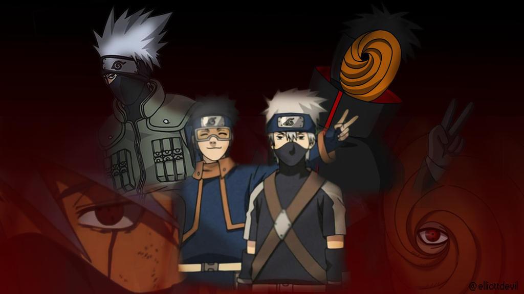 Naruto: Kakashi and Obito/Tobi wallpaper by elliottdevil ...
