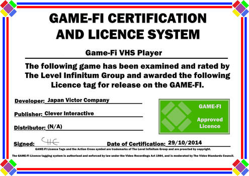VHS Player Game-Fi Certificate