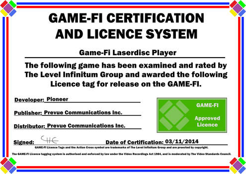 Laserdisc Player Game-Fi Certificate