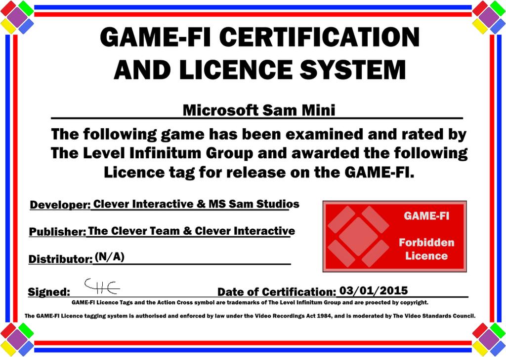 Ms Sam Mini Game Fi Certificate By Levelinfinitum On Deviantart