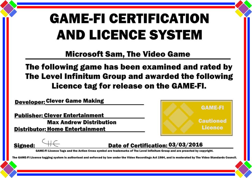 Microsoft Sam Tvg Game Fi Certificate By Levelinfinitum On Deviantart