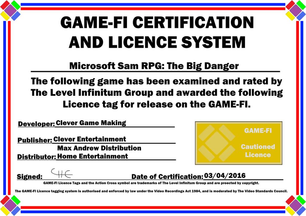 Microsoft Sam Rpg Certificate By Levelinfinitum On Deviantart