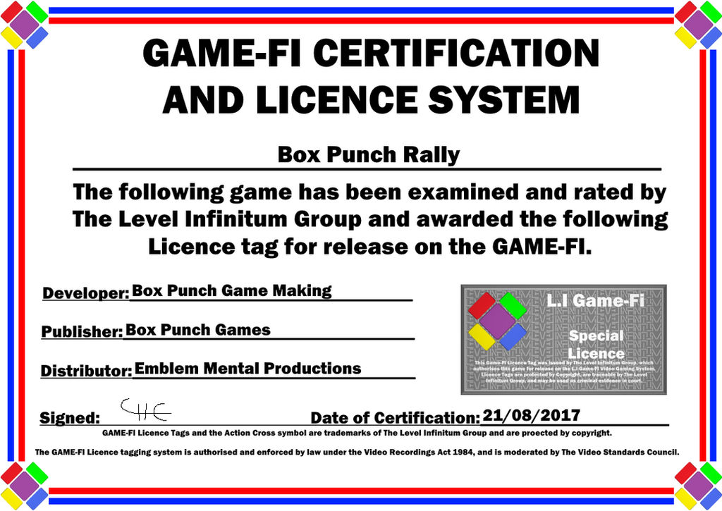 Box Punch Rally Game-Fi Phase Two Certificate