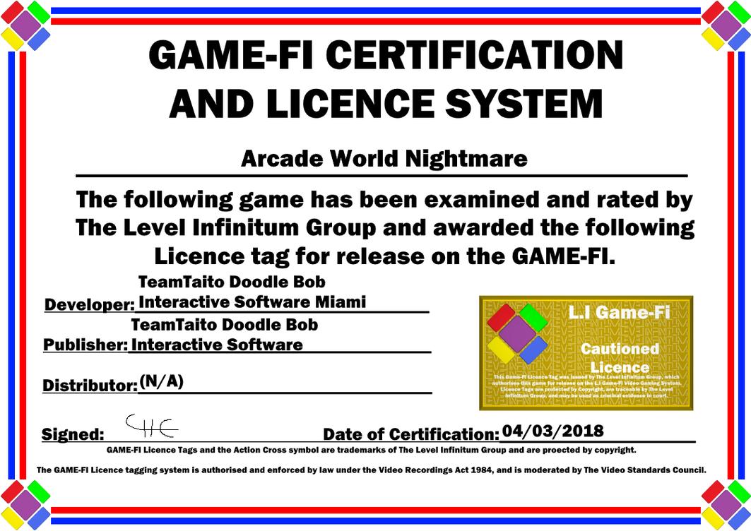 Arcade World Nightmare Game-Fi Certificate by LevelInfinitum