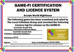 Arcade World Nightmare Game-Fi Certificate